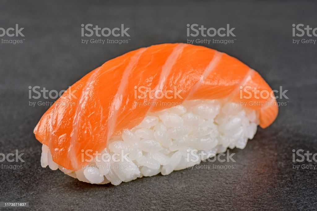 One Nigiri Sushi isolated on slate background - Studio shoot